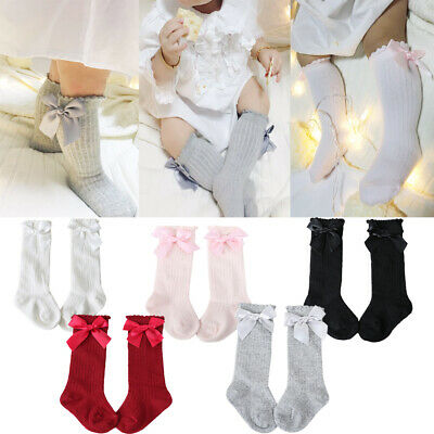 Baby Girls Kids Knee High Socks Bow School Cotton Long Children Stockings Socks • 4.59£