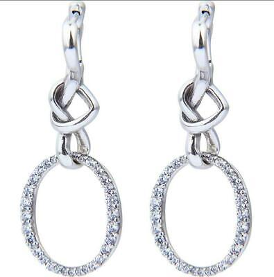 Genuine Pandora Oval Knotted Heart Drop Earrings #298110CZ S925 ALE • 21.99£