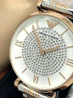 $ CDN113.03 • Buy Emporio Armani Women's Watch AR1926 White Rose Gold Silver Pave Stainless Steel