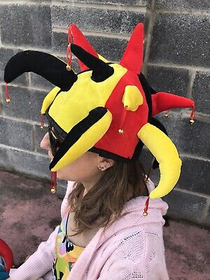 Red Black Yellow Jester Hat With Bells Brand New Fancy Dress Football • 5£