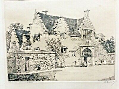 Old Manor House Cotswolds Unframed Pencil Signed Etching Edgar James Maybery VG • 11.99£