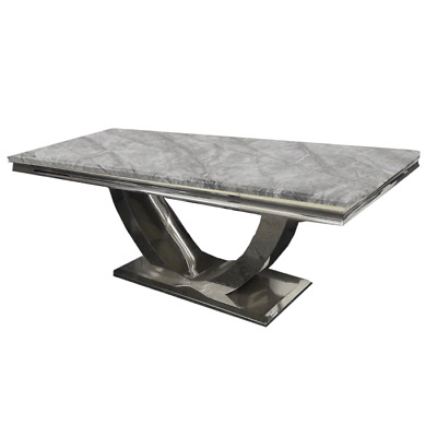 Genuine Marble Stone Dining Table Light Grey 1.8m • 750£