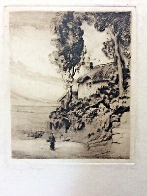 Lynmouth Devon Shelley's Cottage Unframed Pencil Signed Etching Cedric Hodgson  • 11.99£