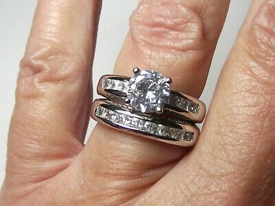 * STUNNING * 925 SILVER & C.Z. * 2 Ring Set * Solitaire & Eternity * 6.8 Gms *  • 24.50£