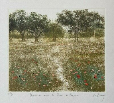 Signed Limited Edition Etching By Jo Barry - Drowned With The Fume Of Poppies • 125£