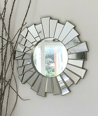 Silver Sunburst Ornate Art Deco Round Wall Mirror Decorative Vintage Style • 14.95£