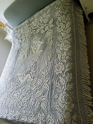 RARE Antique French Handmade Filet Lace Bedspread Rose And Cherubs Putti Angels • 239£