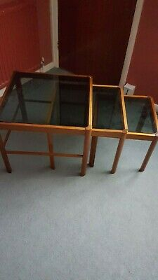 Nest Of 3 Vintage Square Glass Topped Wood Veneer Coffee Tables  • 10£