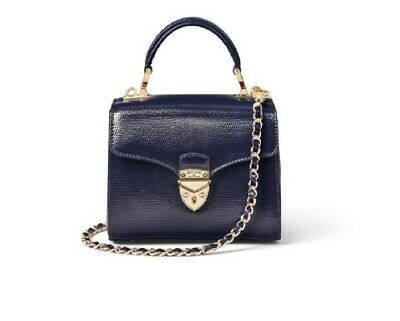 Aspinal Of London Mini Mayfair Blue Snake Bag New • 199.99£