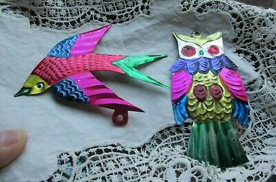 $ CDN12.61 • Buy Lot Of 2 Vintage Metal Christmas Ornaments Hand Painted Mexico OWL & Bird