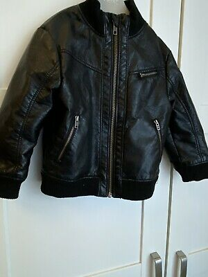 H&M Boys Leather Look Bomber Jacket Aged 18-24 Months • 3.99£