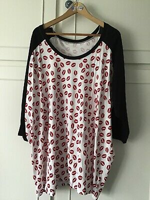 *Simply Be* Plus Size 32 White Black Red Lip Print Longline Top 3/4 Sleeves Vgc • 3.53£