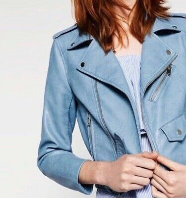 Zara Baby Blue Faux Leather Jacket Size XS Worn Once Amazing Condition • 5£
