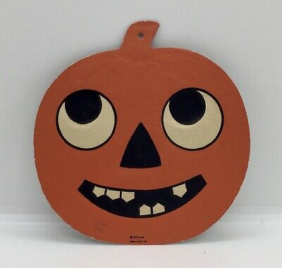 $ CDN63.57 • Buy 2 Vintage Embossed Cardboard LUHRS HALLOWEEN JACK-O-LANTERN DIE CUT DECORATION