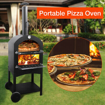 Outdoor Pizza Oven Steel BBQ Smoker Charcoal Wood Fired Barbecue Portable Cooker • 185£