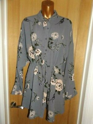 Gorgeous BNWT Grey Pink Green Floral Boohoo Shirt Dress Size 16 • 4.69£