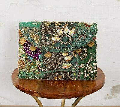 Vintage Patchwork Embroidery Ladies Party Wear Clutch Bag Indian Handmade Purse • 16.99£