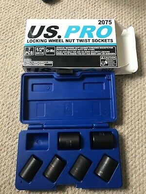 US PRO 2075 Locking Wheel Nut Twist Sockets 6 No And Case - See Description • 7.50£