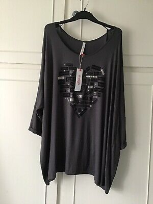 *Sheego* Plus Size 30/32 Grey Longline Tunic Top Heart Shape With Words New • 4.20£