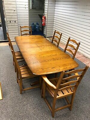 Stunning Ercol Large Extending Windsor Dining Table With 6 Chairs Solid Elm • 1,495£