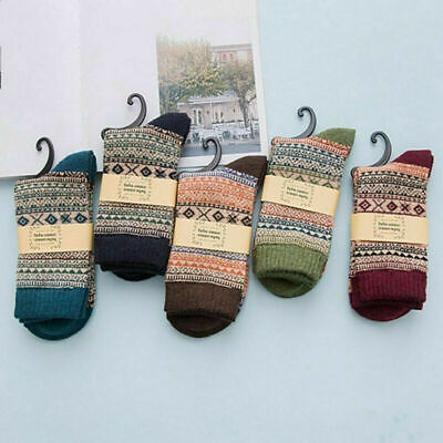 5Pairs Mens Thermal Socks Winter Warm Soft Wool Thick Nordic Novelty Sock SS • 6.65£