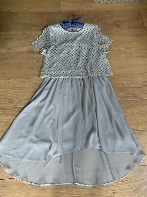 River Island Silver High Low Lace Floaty Dress. Size 16. Perfect. • 7.99£