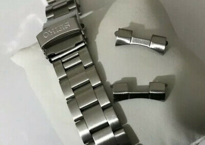 Seiko Solid Stainless Steel Watch Strap/band With Curved End Lugs 22mm  Bargain! • 30£