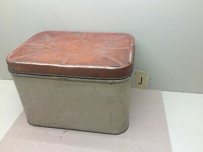 $25.97 • Buy Vintage Metal Tin Bread Box - Country Kitchen With Hinged Lid