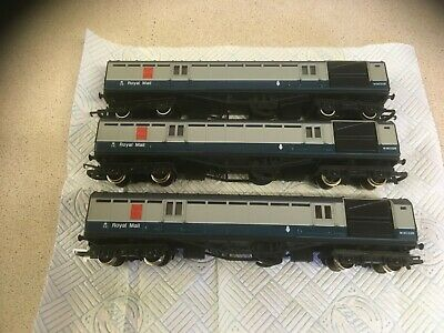 Lot..65...OO GAUGE HORNBY ROYAL MAIL TPO BLUE/GREY COACHES..X..3.......#25# • 36£