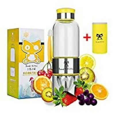 Fruit Infuser Water Bottle Bandit Kitten Stainless Steel Glass 500 Ml Yellow New • 5£