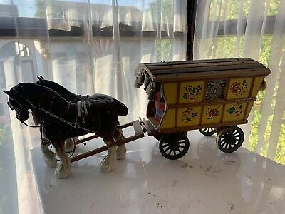Large Vintage Wooden Gypsy Wagon & Pottery Porcelain Shire Horses • 10£