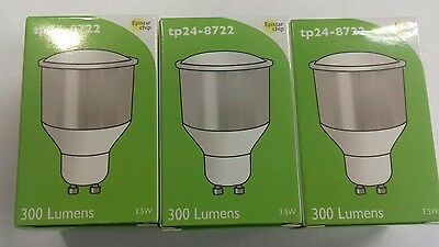 3 X TP24-8722 Warm White 3.5W LED Bulb 74m Long GU10 X3 • 16£