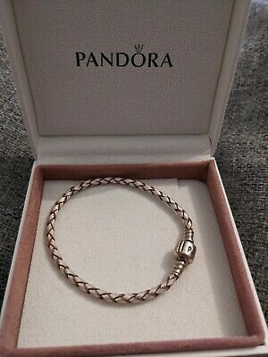 Genuine Pandora Silver Woven Champagne Pearl Leather Bracelet • 7.30£