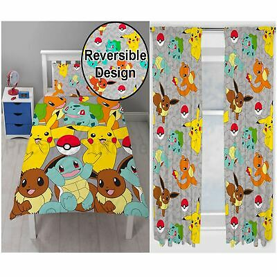 Pokemon Catch Single Duvet Cover Set + Matching 72  Curtains Kids Room Official • 36.99£
