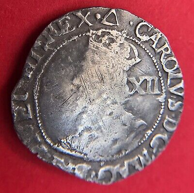 Charles I Shilling. S2799 Mm Triangle  1639-40 • 45£