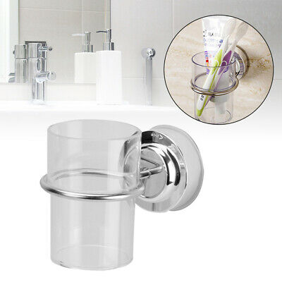 Chrome Bathroom Toothbrush Holder Tumbler Suction Cup Round Wall Mounted Stylish • 7.66£