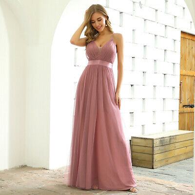 Ever-Pretty V-neck Mesh Long Bridesmaid Prom Dresses Backless Evening Ball Gowns • 23.99£