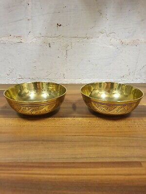 X2 Antique Indian Brass Bowls Hand Engraved • 2.95£