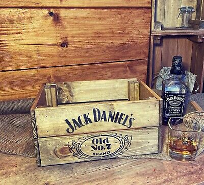 Rustic And Vintage Wooden Jack Daniels Old No7 Crate - Box Storage • 17.99£