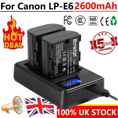 2x LP-E6 Battery + LCD Dual Charger For Canon EOS 6D 7D 60D 60Da 70D 80D DSLR • 15.49£