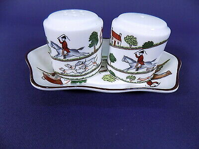 Coalport Hunting Scene Salt & Pepper Pot With Tray • 25£