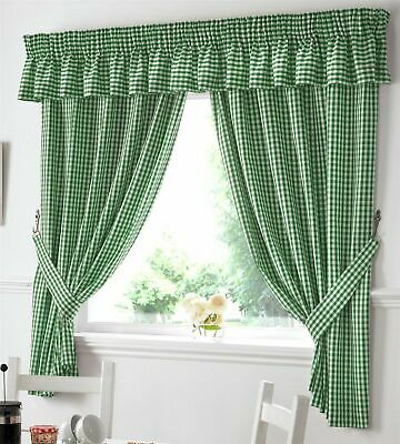 Gingham Beige Ready Made Pencil Pleat Kitchen Curtains Pair Tie Backs Included • 11.99£