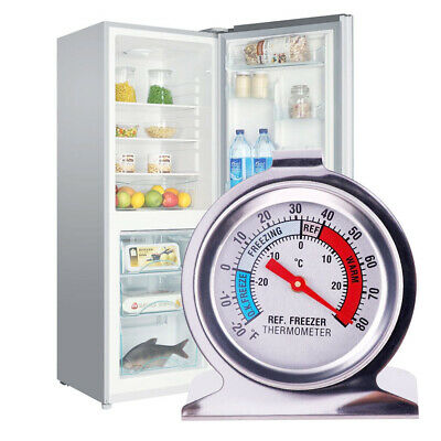 Stainless Steel Fridge Freezer Dial Thermometer Temperature Gauge Stands & Hangs • 4.83£