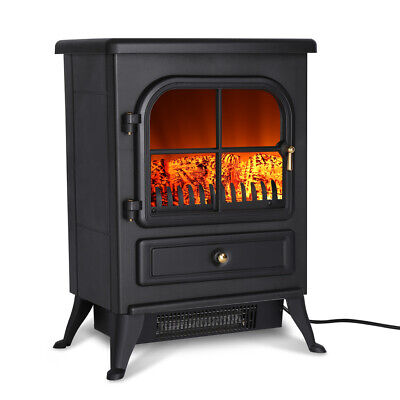 1800W Freestanding Electric Fireplace Stove Heater Log Burning Flame Effect • 60.94£