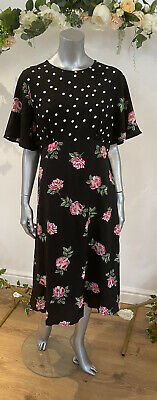 Influence Tea Dress Size UK 16 & 22 Black Floral Spot Print Midi Curve NEW GE87 • 14.99£