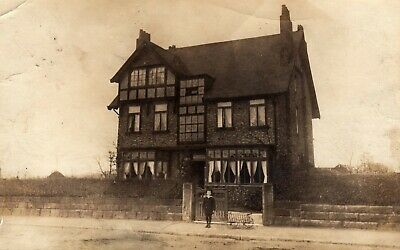 Unidentified House. ALTRINCHAM Postmark, CHESHIRE. 1904 Real Photo Postcard. Boy • 2.50£