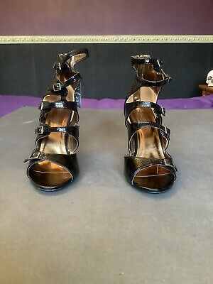 Ella Faux Patent Leather Black Gladiater Heeled Sandals Buckles/Zip Size 5 BNWOB • 2.50£
