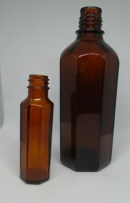 Antique Brown Glass Bottles, Hexagonal, Medical, Apothecary • 7.40£