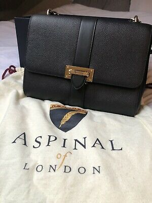 NEW Large Aspinal Of London Large Lottie Bag In Black Pebbled Leather RRP £650 • 450£