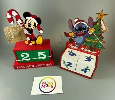Disney Primark Mickey Mouse Or Stitch Countdown Christmas Wooden Blocks Calendar • 14.95£